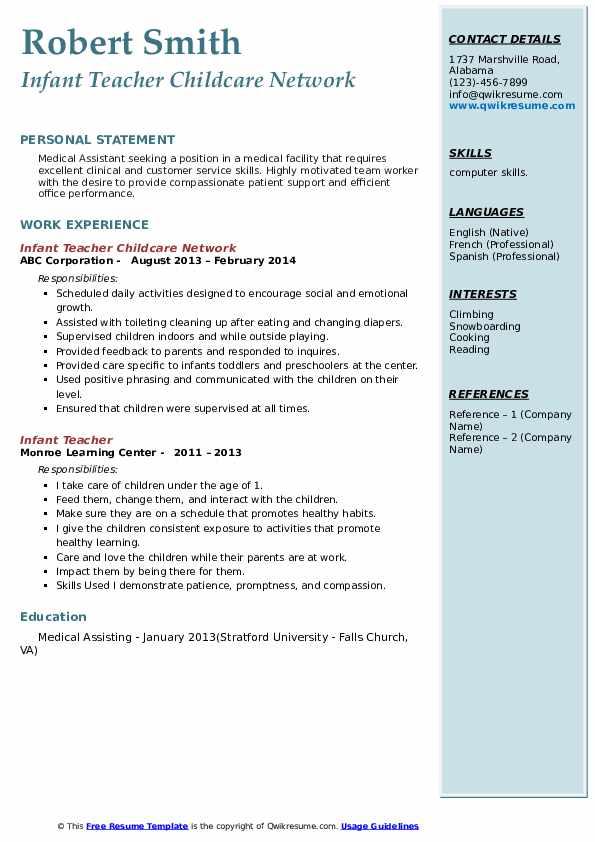 Infant Teacher Childcare Network Resume Model
