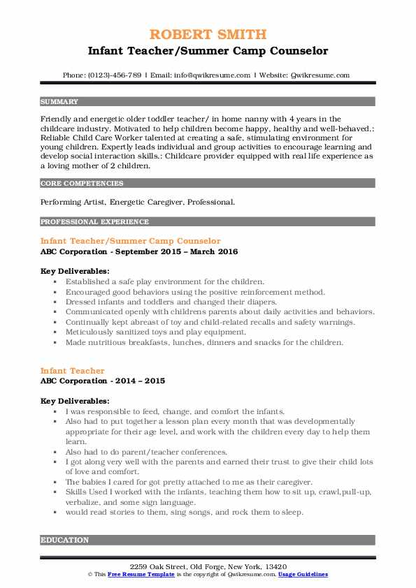Infant Teacher/Summer Camp Counselor Resume Example