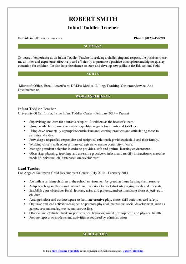 Infant Toddler Teacher Resume Sample