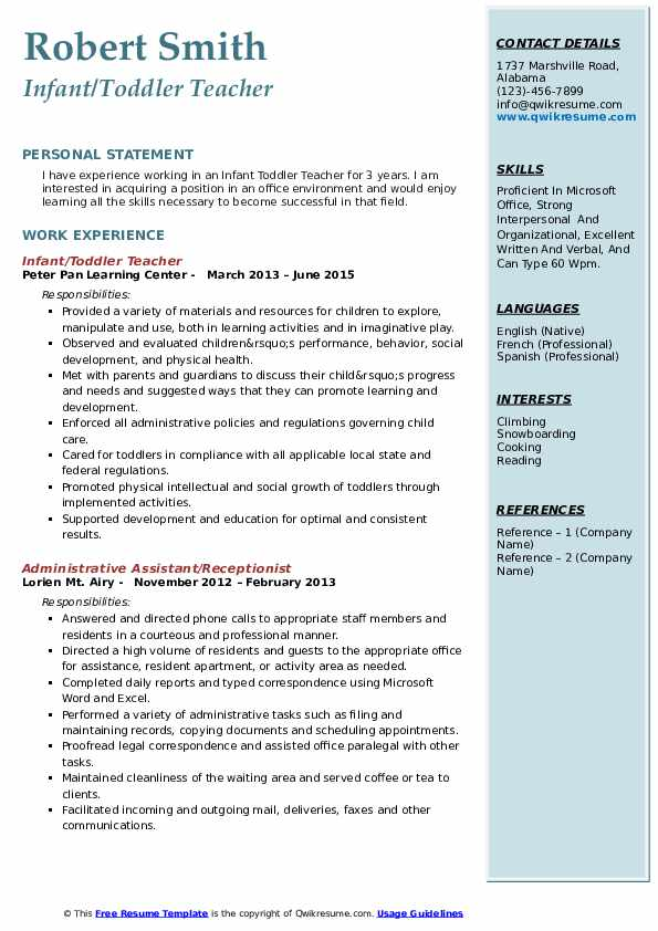 Infant/Toddler Teacher Resume Example