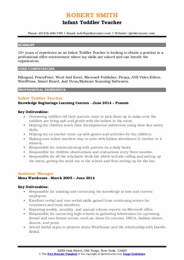 Infant Toddler Teacher Resume Model