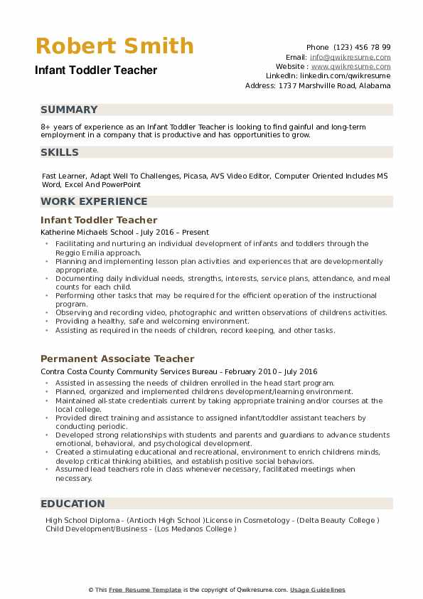 Infant Toddler Teacher Resume example
