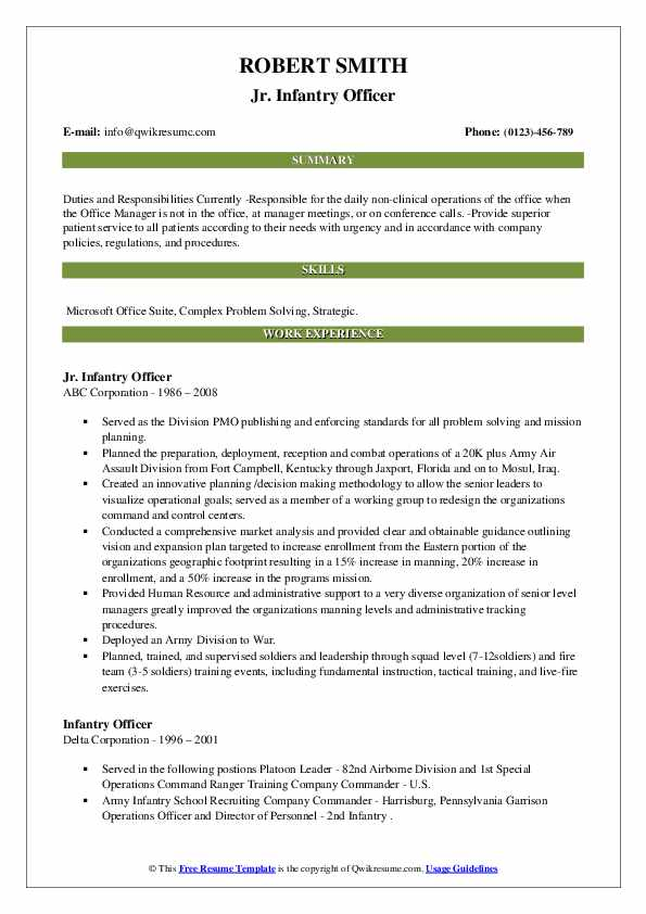 Infantry Officer Resume Samples Qwikresume