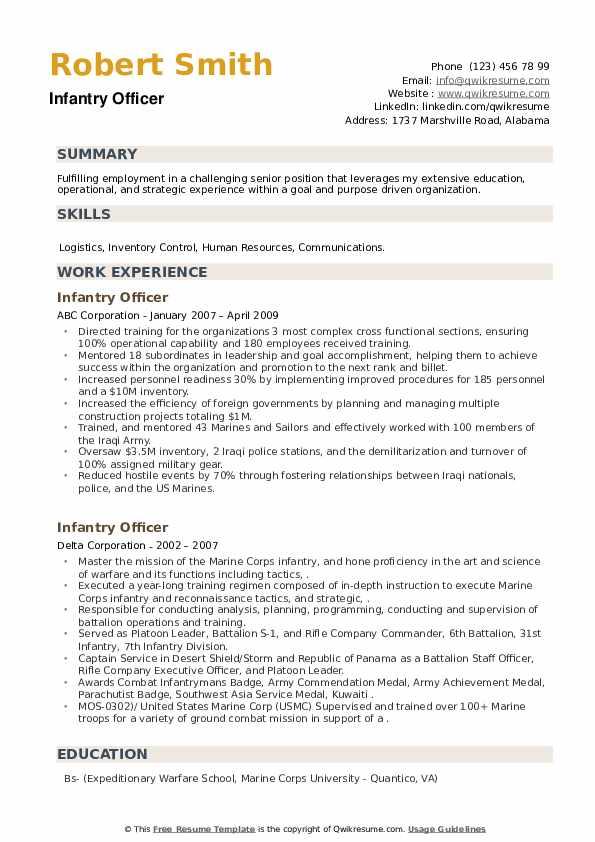 Infantry Officer Resume example