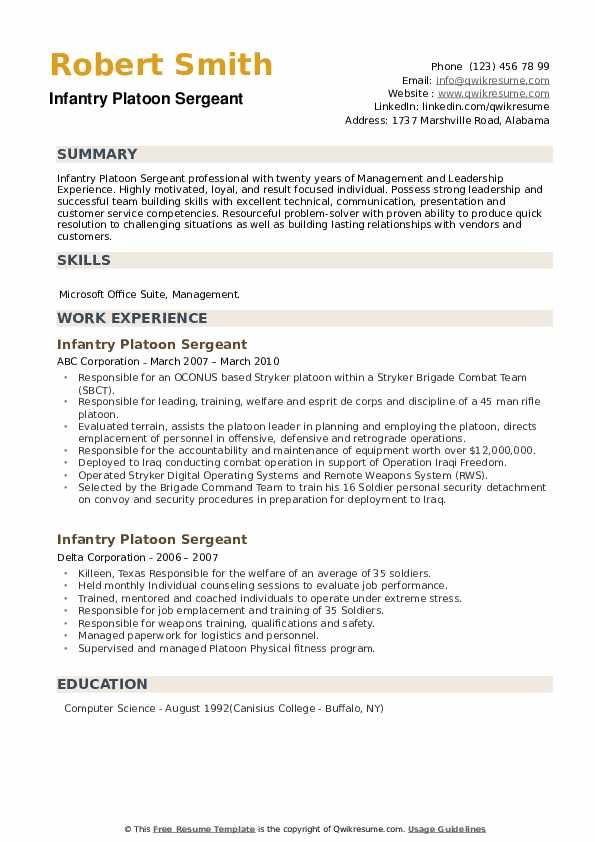 Infantry Platoon Sergeant Resume example