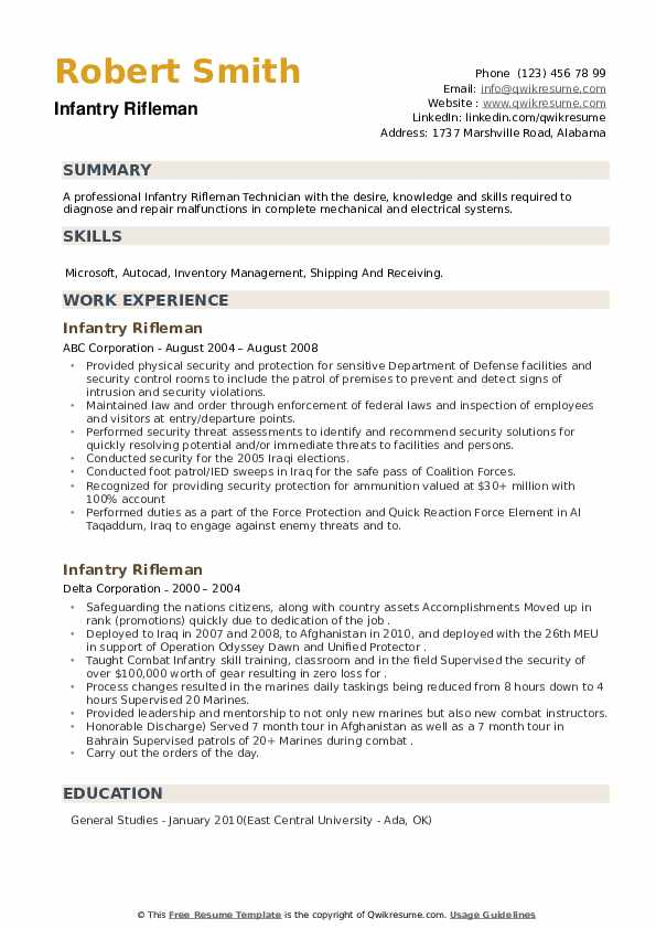 Infantry Rifleman Resume example