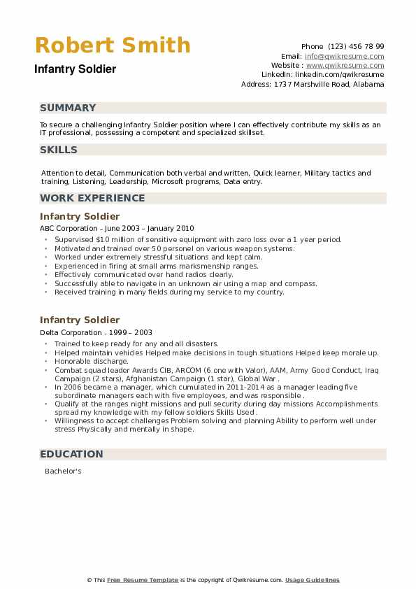 Infantry Soldier Resume example