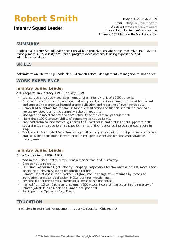 Infantry Squad Leader Resume example