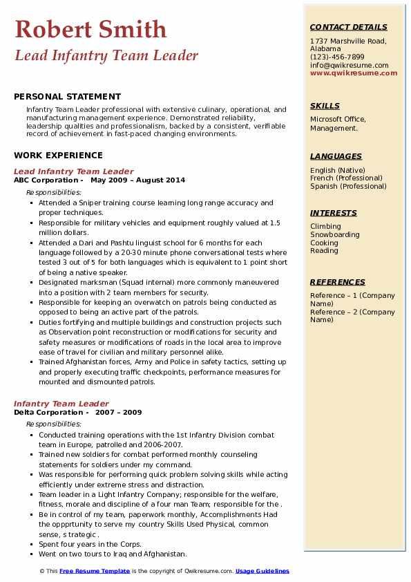 infantry team leader resume samples  qwikresume