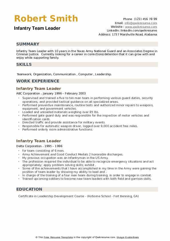 Infantry Team Leader Resume example
