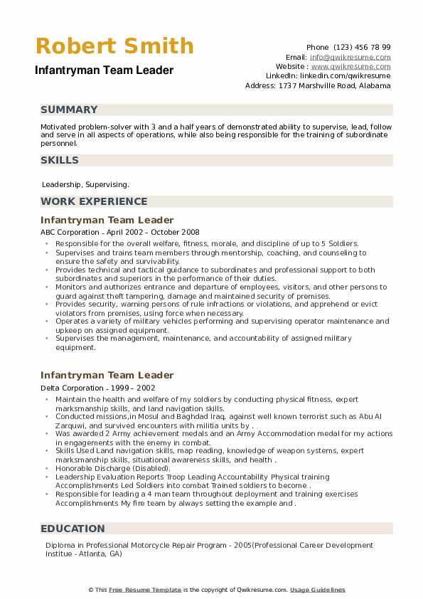 Infantryman Team Leader Resume example