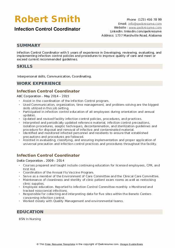 Infection Control Coordinator Resume example