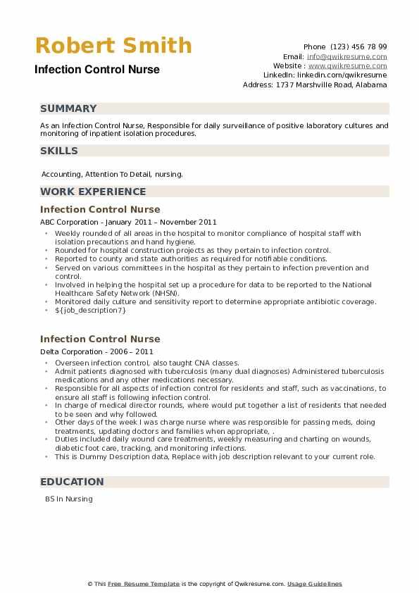 Infection Control Nurse Resume example