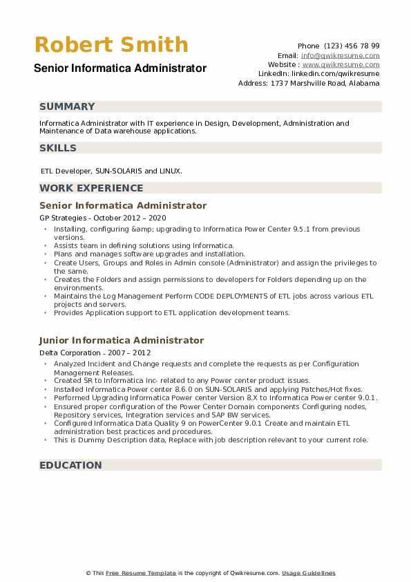 Informatica Administrator Resume example