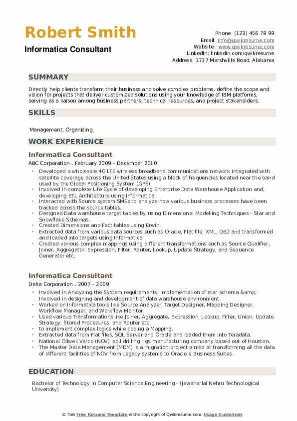Informatica Consultant Resume example