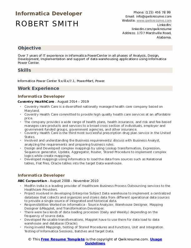 Informatica Developer Resume Format