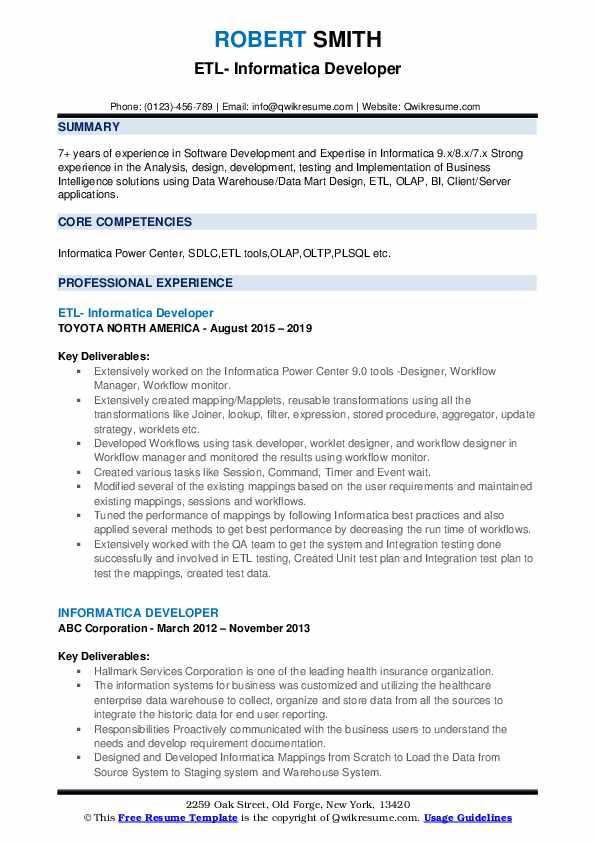 ETL- Informatica Developer Resume Model
