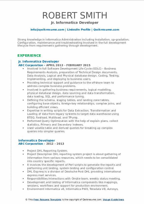 Jr. Informatica Developer Resume Format