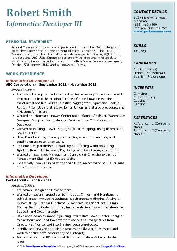 Informatica Developer III Resume Sample