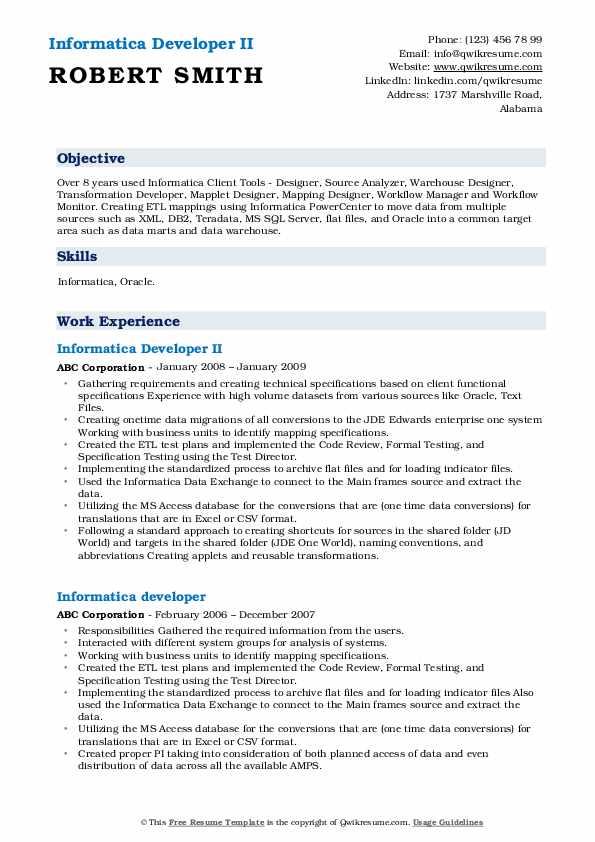 Informatica Developer II Resume Template