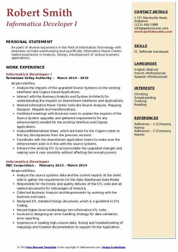 Informatica Developer I Resume Format