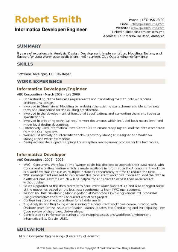 Informatica Developer/Engineer Resume Sample