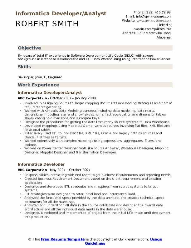 Informatica Developer/Analyst Resume Template