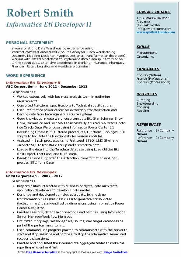 informatica etl developer resume samples  qwikresume