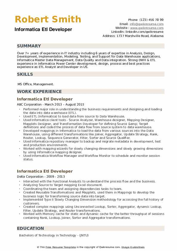 Informatica ETL Developer Resume example
