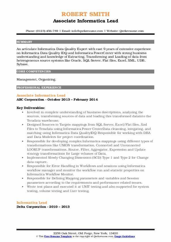 informatica lead resume samples  qwikresume
