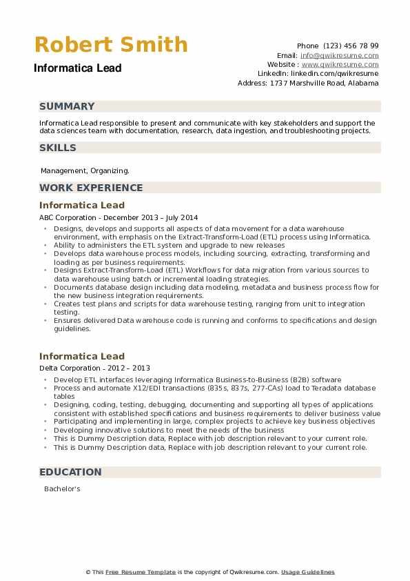Informatica Lead Resume example