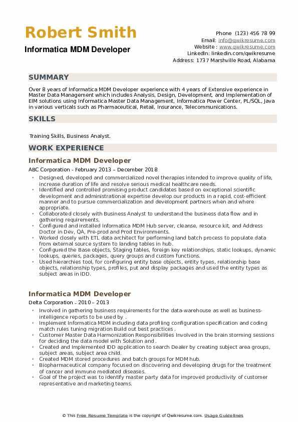 Informatica MDM Developer Resume example