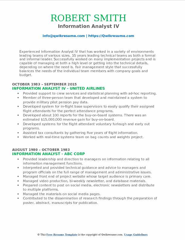 Information Analyst IV Resume Format