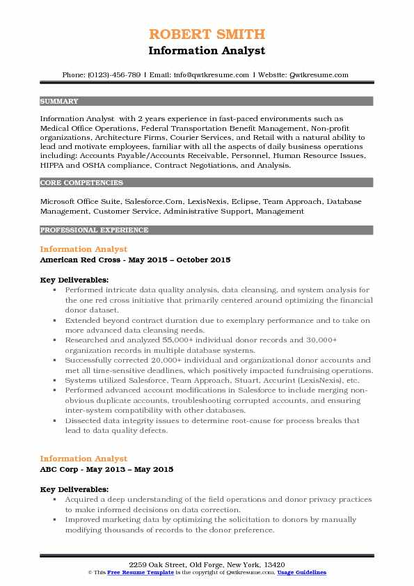 Information Analyst Resume Samples Qwikresume