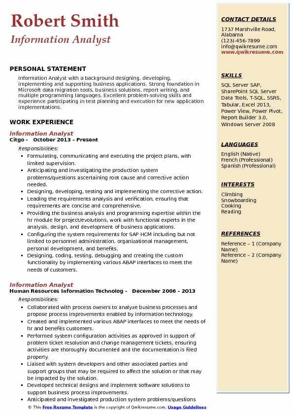 Information Analyst Resume Format