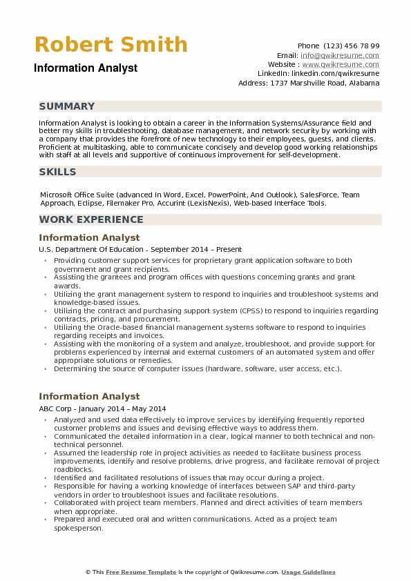 information analyst resume samples