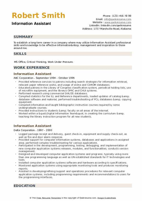 Information Assistant Resume example