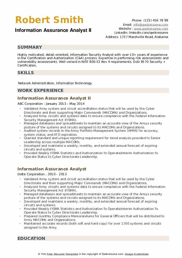 Information Assurance Analyst Resume example