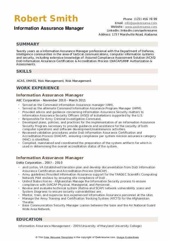 Information Assurance Manager Resume example