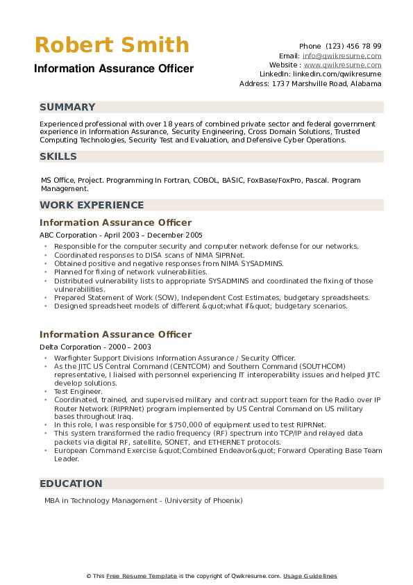Information Assurance Officer Resume example