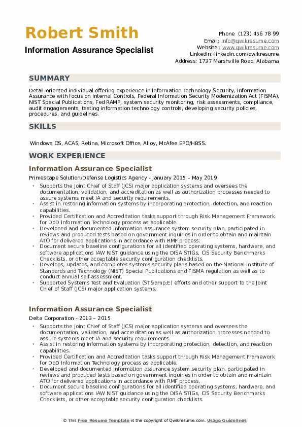 Information Assurance Specialist Resume example