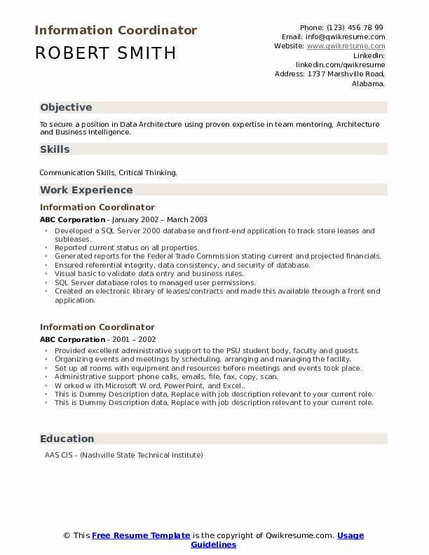 Information Coordinator Resume example