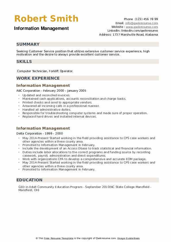 Information Management Resume example