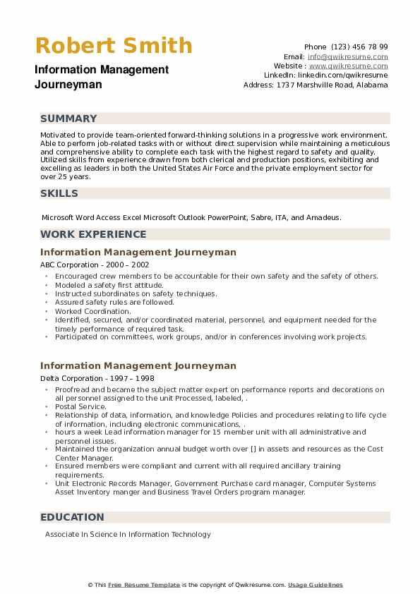 Information Management Journeyman Resume example