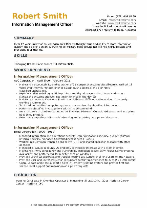 Information Management Officer Resume example