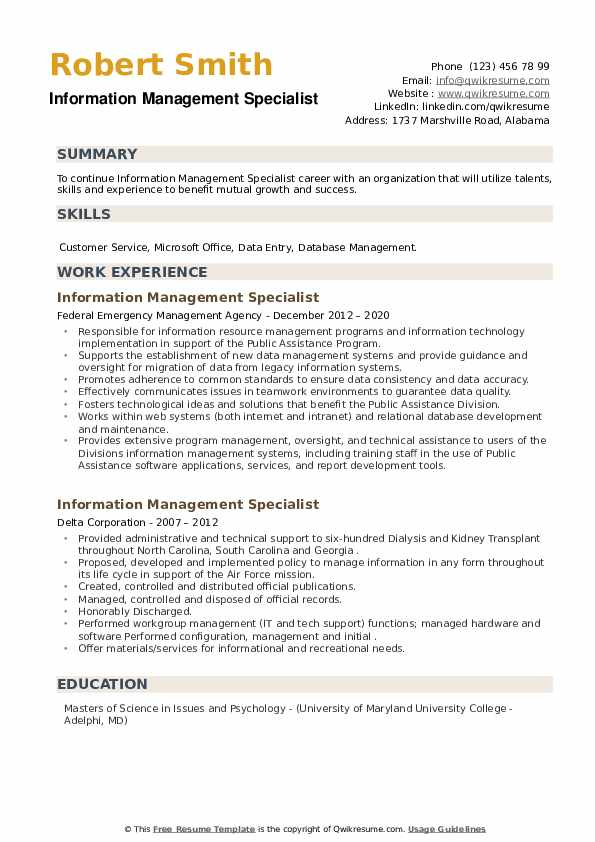 Information Management Specialist Resume example