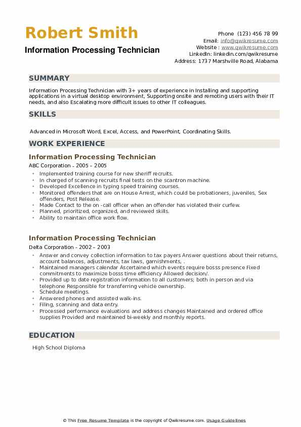 Information Processing Technician Resume example