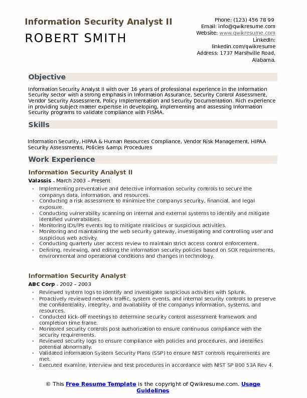 Information Security Analyst II Resume Example