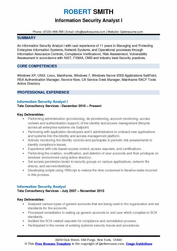 Information Security Analyst I Resume Format
