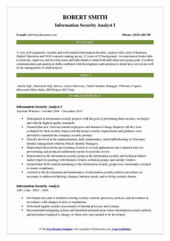 Information Security Analyst I Resume Model